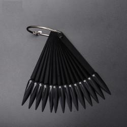 Типсы на кольце, черные, форма стилет (50 шт/уп)