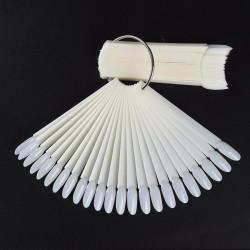 Типсы на кольце, молочные, форма миндаль (50 шт/уп)